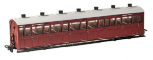 Peco GR-440U 3rd Class Coach, Indian Red Livery, Unlettered
